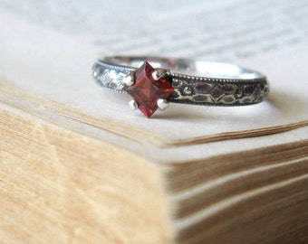 Promise Ring Engagemet Ring Garnet Square Cut Princess Sterling Silver