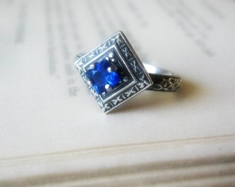 Blue Sapphire Engagement Ring Promise Ring  with Edwardian Oxidized Sterling Silver Gemstone Ring