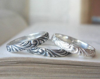 Sterling Silver Wedding Band or Stacking Ring in Thin Swirl Pattern Size 6 Ready to Ship