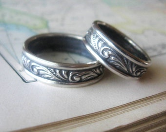 Unique Wedding Band Set Patterned Wedding Ring Set of Two Swirl Sterling Silver Rings Handmade to Order Mens Silver Wedding Bands