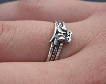 Hammered Kissing Lovebirds Stack Rings sterling silver stacking rings