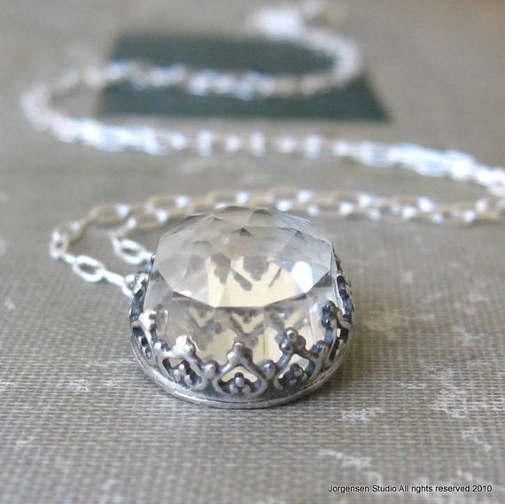 Rose Cut Quartz Crown Pendant in Sterling Silver