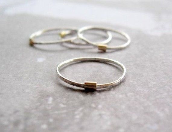 Silver and Gold Stack Ring - Single Ring
