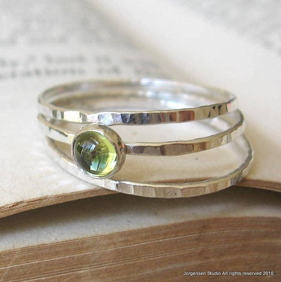 Peridot Gemstone Ring Stacking Rings in Hammered Sterling Silver