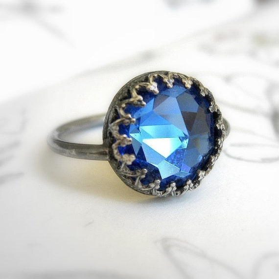 Vintage Crystal Sapphire Blue Sterling Silver Ring