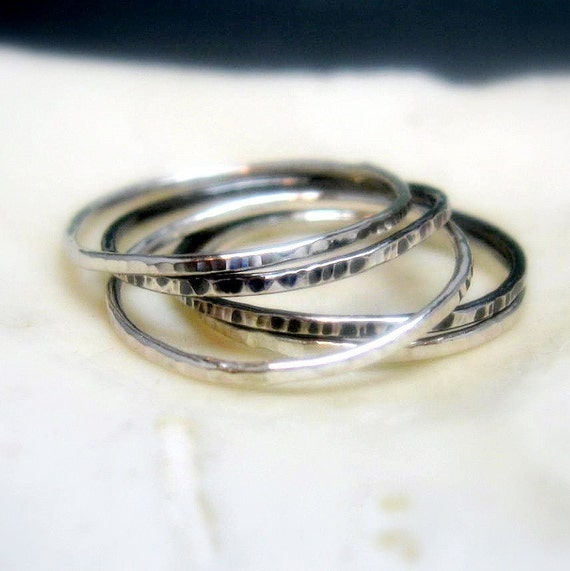 Sterling Silver Hammered Stacking Rings Set of Five - Thin