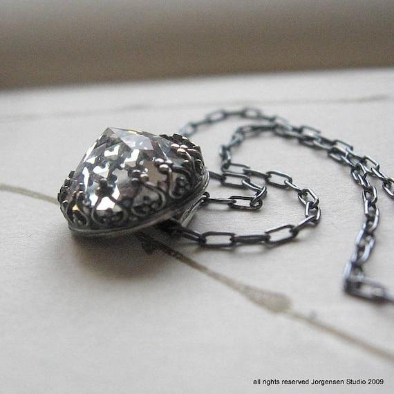 Vintage Swarovski Necklace Handmade in Oxidized Sterling
