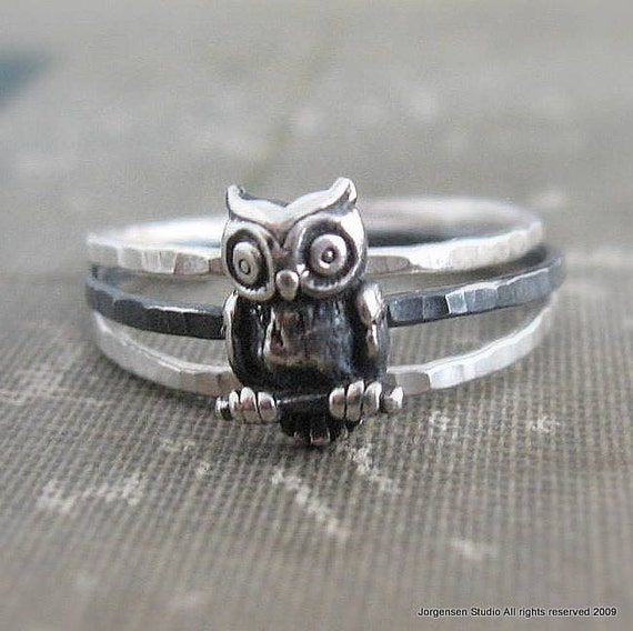Hammered Owl Stacking Rings set of Three in Sterling Silver