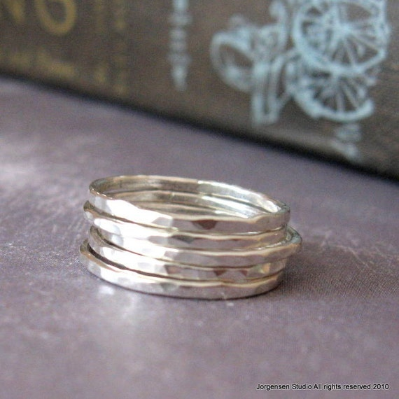 Hammered Stack of Five Silver Rings size 8 ready to ship