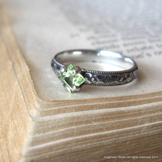 Peridot  Alternative Engagement Ring Promise Ring Gemstone Stacking Ring Sterling Silver Princess Cut