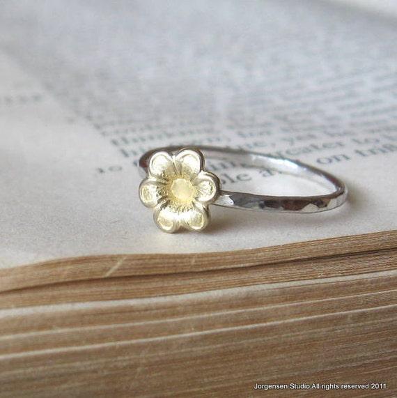 Bright Silver Little Brass Flower Ring Single  brass jewelry