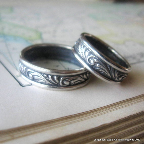 unique wedding band set swirl sterling silver rings