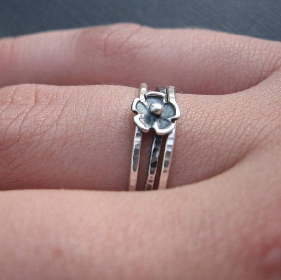 Flower Stack Rings Sterling Silver stacking bands Hammered Oxidized