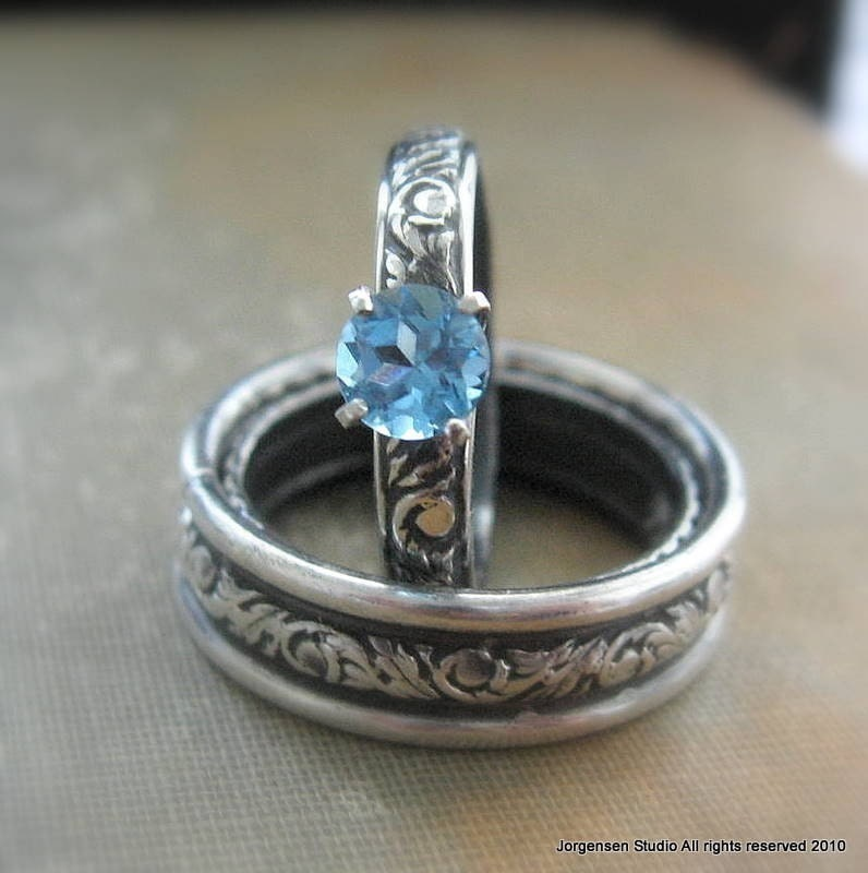 engagement or promise ring blue topaz gemstone by