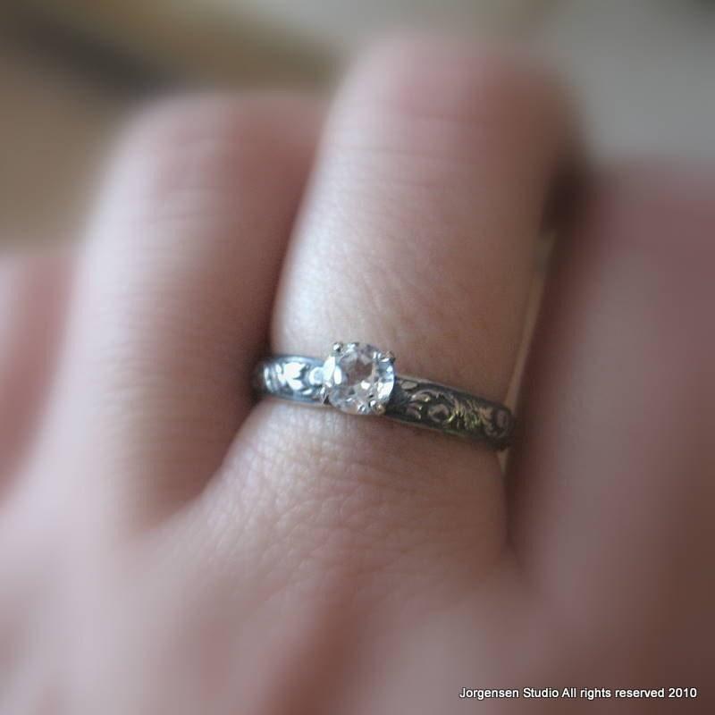white topaz alternative engagement ring gemstone promise ring. Black Bedroom Furniture Sets. Home Design Ideas