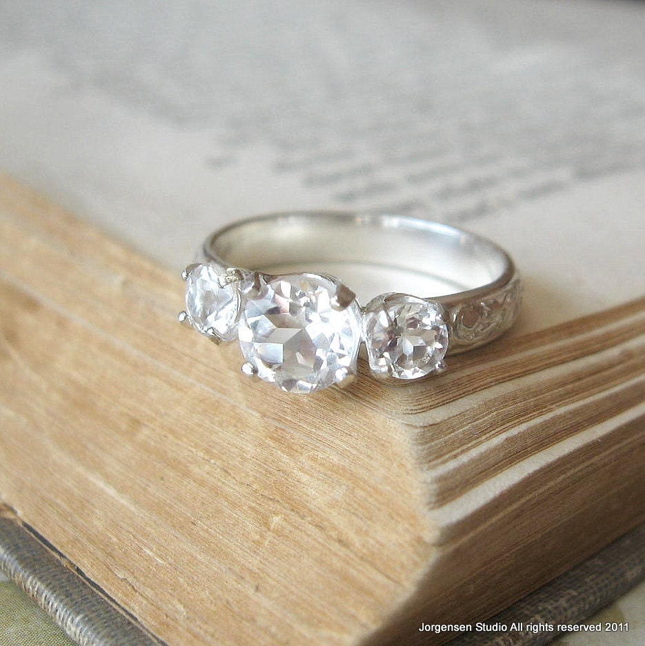 Stone Wedding Rings: Three Stone White Topaz Engagement Ring Promise Ring Sterling