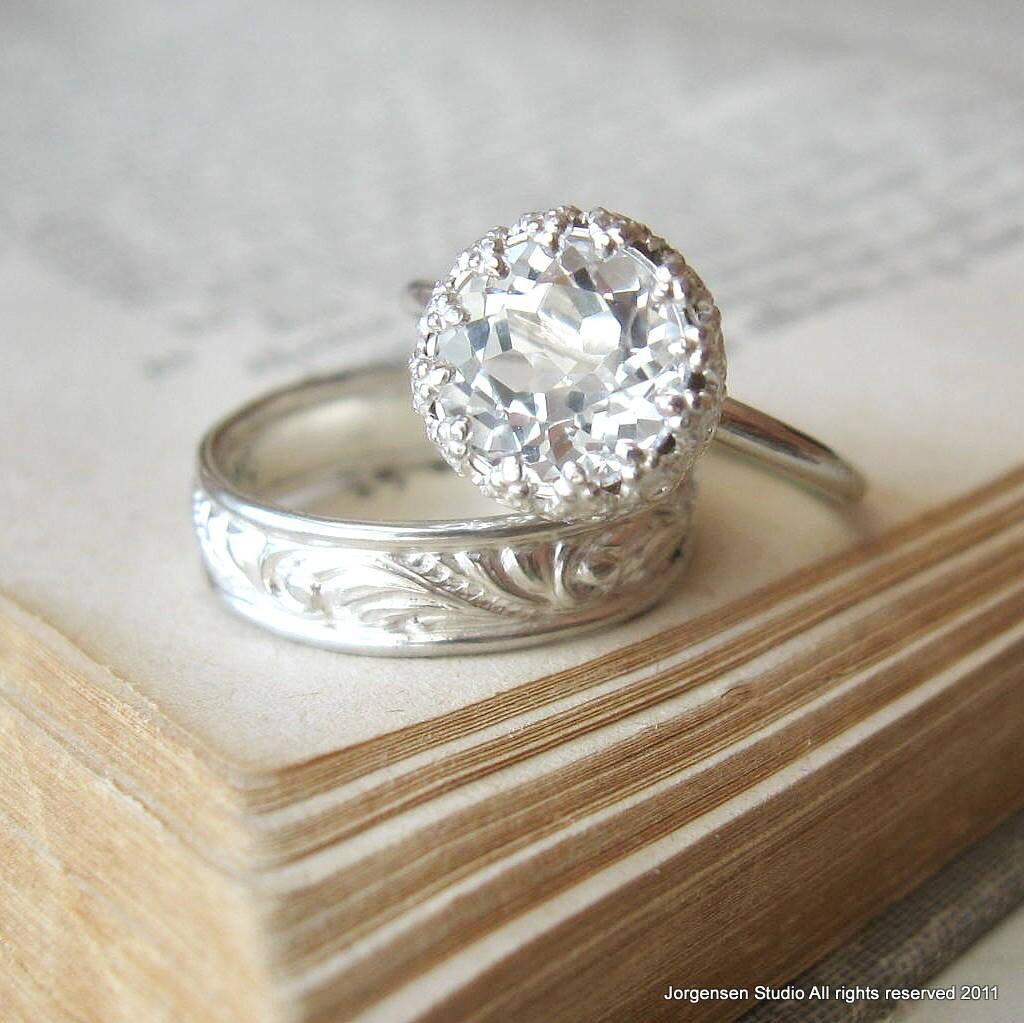 engagement ring large white topaz let them eat cake ring. Black Bedroom Furniture Sets. Home Design Ideas