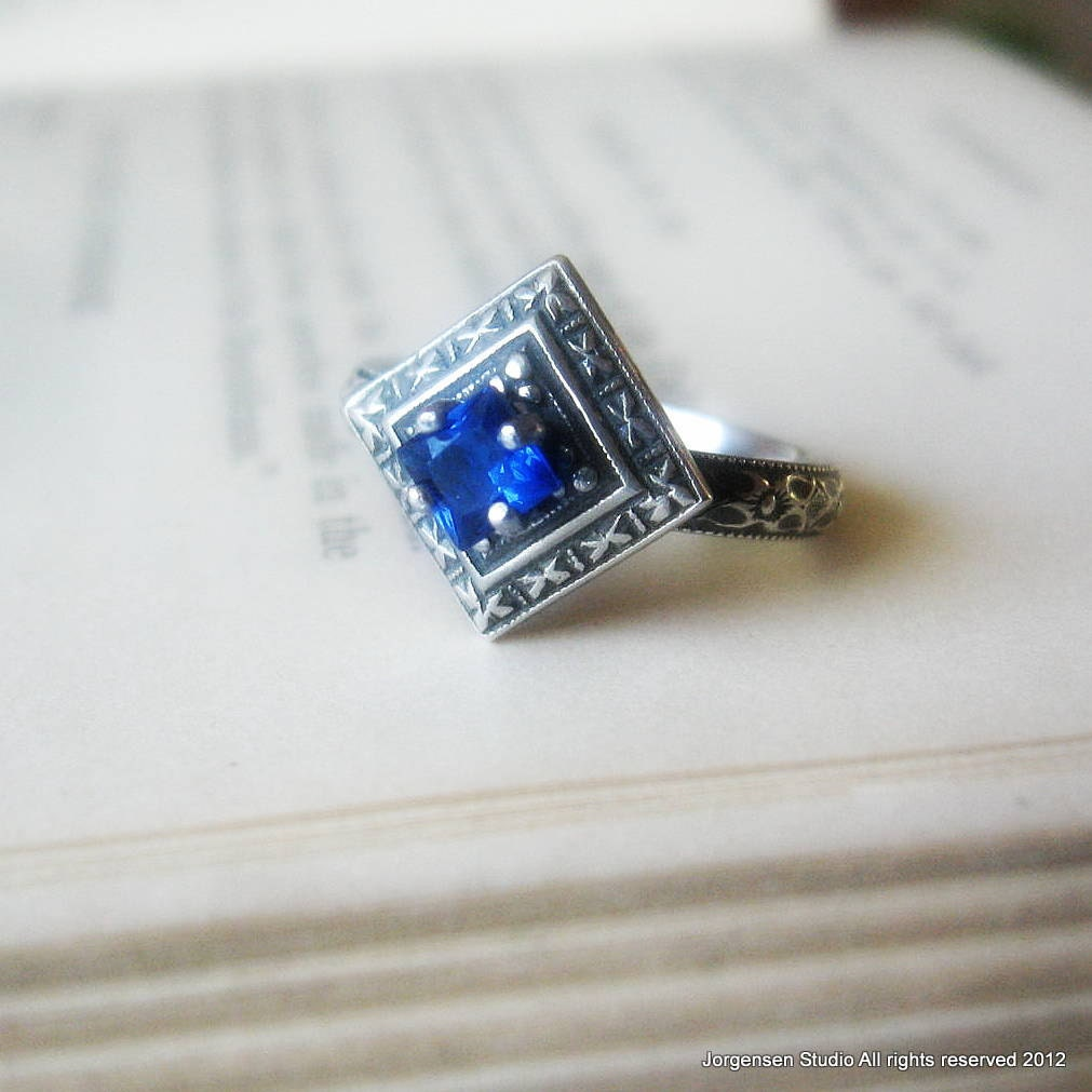 Blue Sapphire Engagement Ring Promise Ring with Edwardian