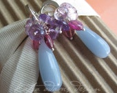 BLUEBERRY SORBET - Angelite, Amethyst and Pink Tourmaline Earrings - RESERVED