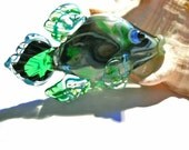 Fish Lampwork glass bead, handmade aqua and green pendant, focal bead, CGGE team jewelry,  SRA animal necklace, glassbead