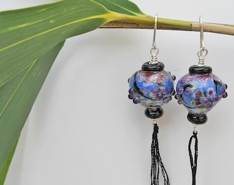 Lampwork Glass bead earrings, Japanese lanterns, pink, purple and blue, Asian inspired cherry blossom SRA art glass jewelry, leteam