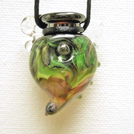 Handmade Lampwork glass beads bottle pendant- green and pink wearable mini amphora jewelry- SRA from Isinglass Design, glassbead