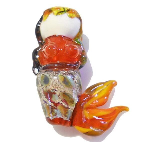 Lampwork Glass Beads, Orange Mermaid,SRA, women, female, people jewelry, pendant or focal bead SRA beading supplies, OOAK
