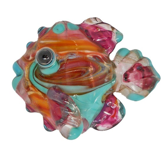 Lampwork glass bead, angel fish, handmade pink sunset pendant, CGGE, tt team jewelry,  SRA animal necklace or focal bead  by glassbead