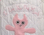 Quilt I Love You This Much in Pink for Girl