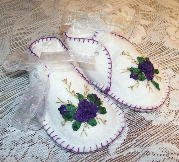 Items similar to baby booties with silk ribbon embroidery