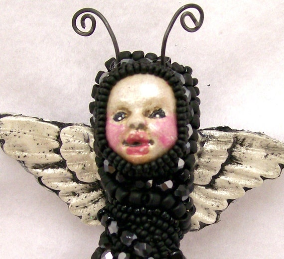 Faries Imp ADO Pin Czech Glass Beads with Polymer Clay Face and Wings