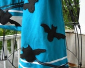 Turquoise scarf with bats cotton embellished for Halloween