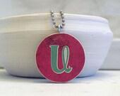 initial charm necklace - monogram pendant - letter U - reversible design
