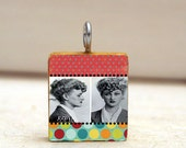 MUGSHOT collage art pendant necklace - scrabble tile charm - red polkadot