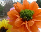 For Linda 2 open tissue paper gerber daisies, custom, wedding, centerpiece, hanging, garland,orange,lime,vase