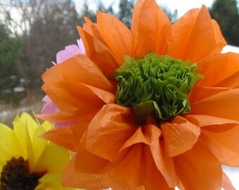 Dozen open tissue paper gerber daisies, custom, wedding, centerpiece, hanging, garland,cerise,mint,apricot,purple