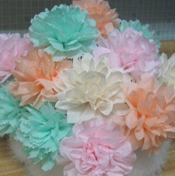 12 Open 4.5 in Paper Flowers, tissue poms, stems,complete, any color, cupcake, favor,garland