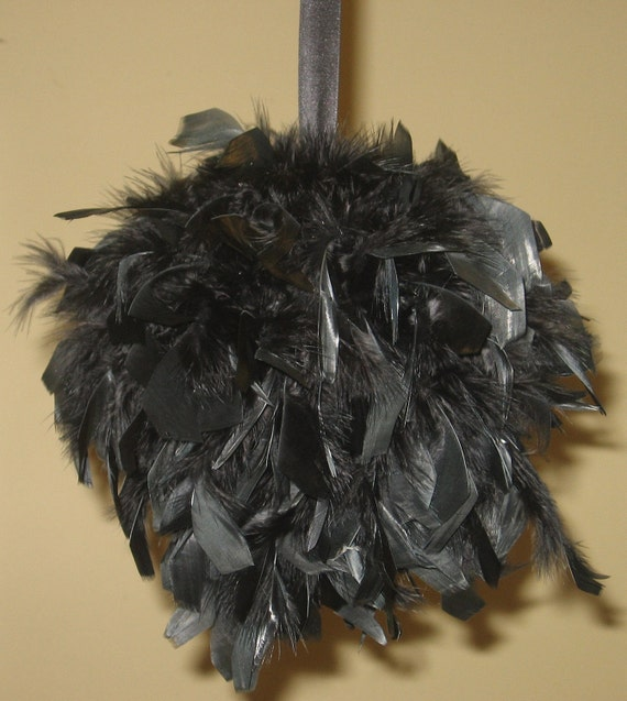 "FOR Monica 8"" and 6"" Feather Kissing Balls, Feather Balls, Feather Pomander, chandelle, Wishies, red, black"