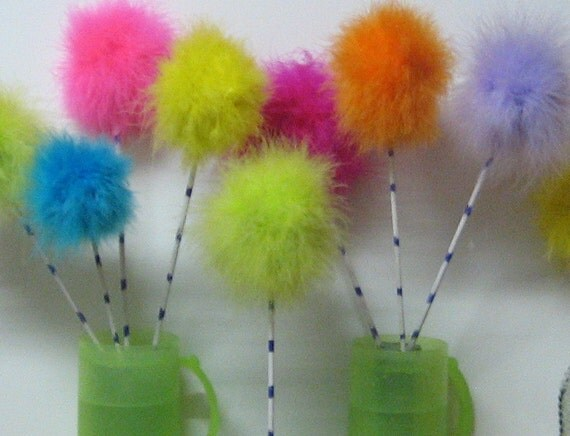 10 Dandelion ,Feather Puffs,  wishies, puff balls, wands, dandelion heads, on stem, custom lorax, Truffala tree