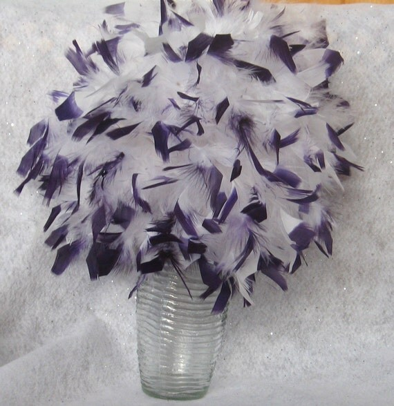 "Medium 8"" Chandelle Feather Kissing Ball, white with dyed purple tips, Feather Ball, centerpiece, crystals"