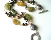 Triple Strand Bracelet with Grossular Green Garnets and Pearls  BHV OOAK
