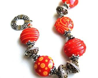 Paprika Artisan Lampwork Bracelet with sterling silver OOAK