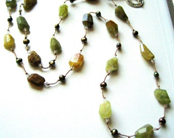 Grossular Green Garnet and Pearl Necklace handknotted on silk cord