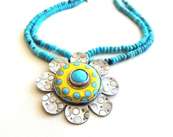 Turquoise Pendant Necklace Artisan Forged Flower Bezel with sterling silver and  lampwork