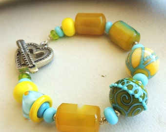 Artisan Lampwork and Agate Bracelet Hello Sunshine