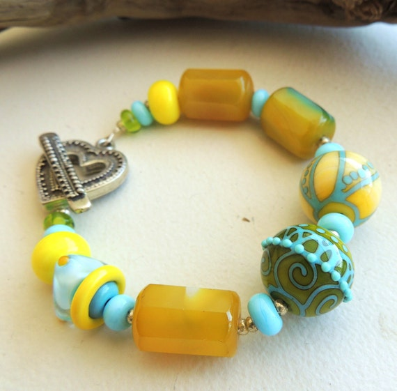 Artisan Lampwork and Agate Bracelet Hello Sunshine