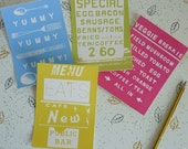 Foodie mini screenprint card set