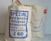 Saturday Morning screenprint shopper tote bag - blue
