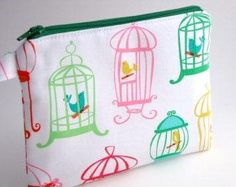 Zippered Wristlet-Michael Miller- Birdcages on White