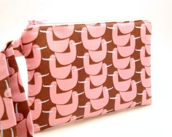 Zippered Wristlet- Lizzie House Fabric-Ducks